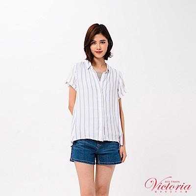 Victoria 印直條後波浪下襬短袖襯衫-女-白色
