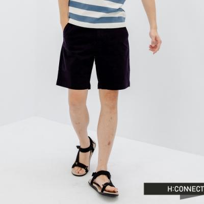 H:CONNECT 韓國品牌 男裝-微彈素面修身短褲-深藍色