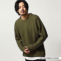寬版圓領針織衫(7色) ZIP日本男裝
