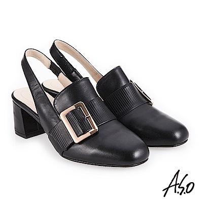 A.S.O 新式復古 經典穆勒簡約飾釦高跟鞋 黑