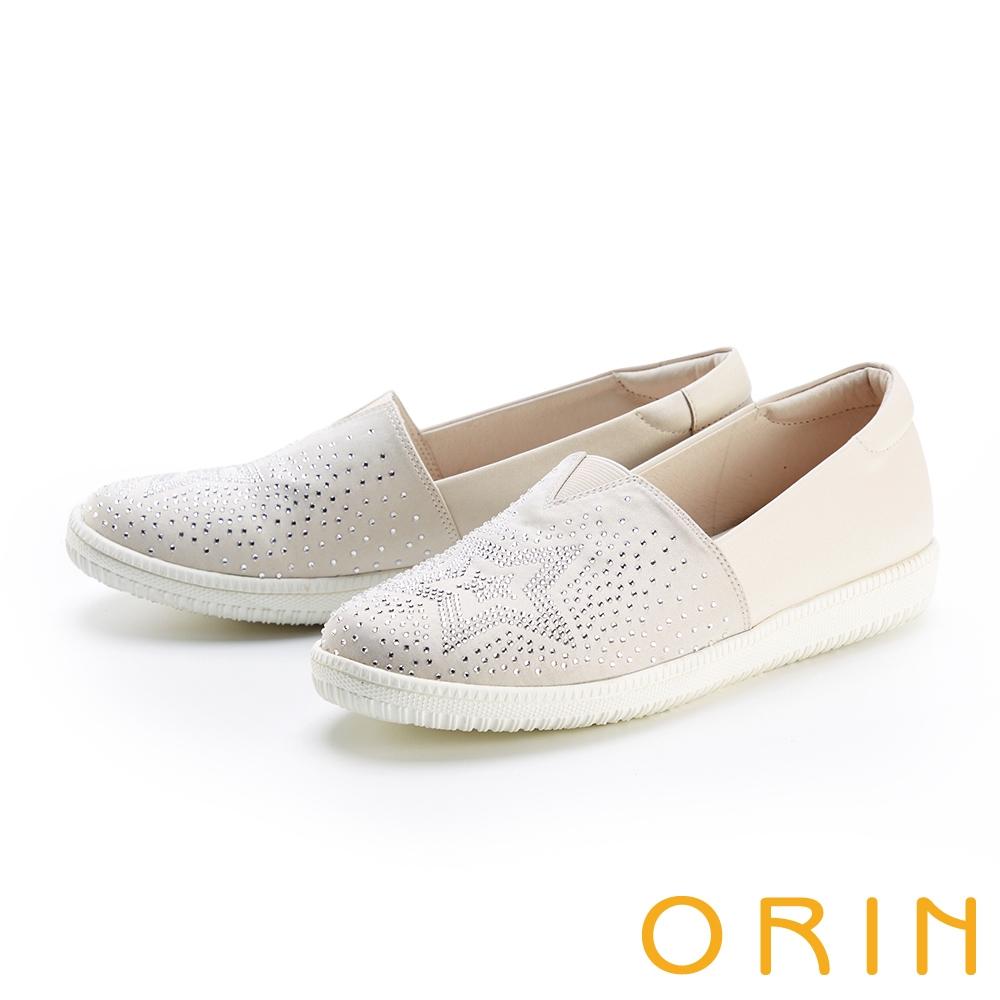 ORIN 星星燙鑽平底 女 休閒鞋 米色