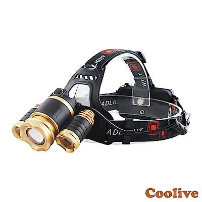 Coolive「CREE T6 LED」伸縮變焦強光三頭燈