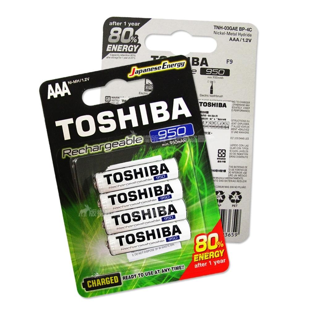 TOSHIBA東芝4號低自放電鎳氫充電電池950mAh(4顆入)送電池盒