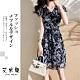 艾米蘭-韓版V領植物紋繫繩洋裝-深藍(S-XL) product thumbnail 1