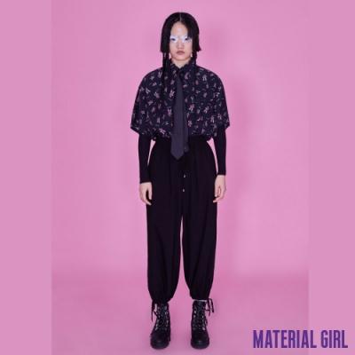 MATERIAL GIRL 黑色綁帶束口休閒褲【20夏季款】-A23148