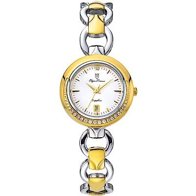 Olym Pianus 奧柏表 晶漾微笑優雅時尚晶鑽鍊錶-金X銀 2474DLSK