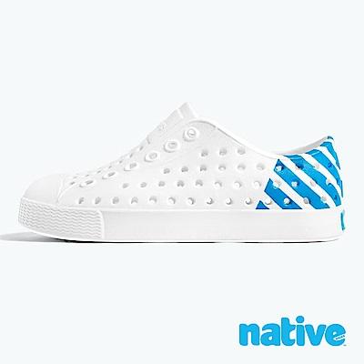 native 大童鞋 JEFFERSON 小奶油頭鞋-貝殼白x夜光藍