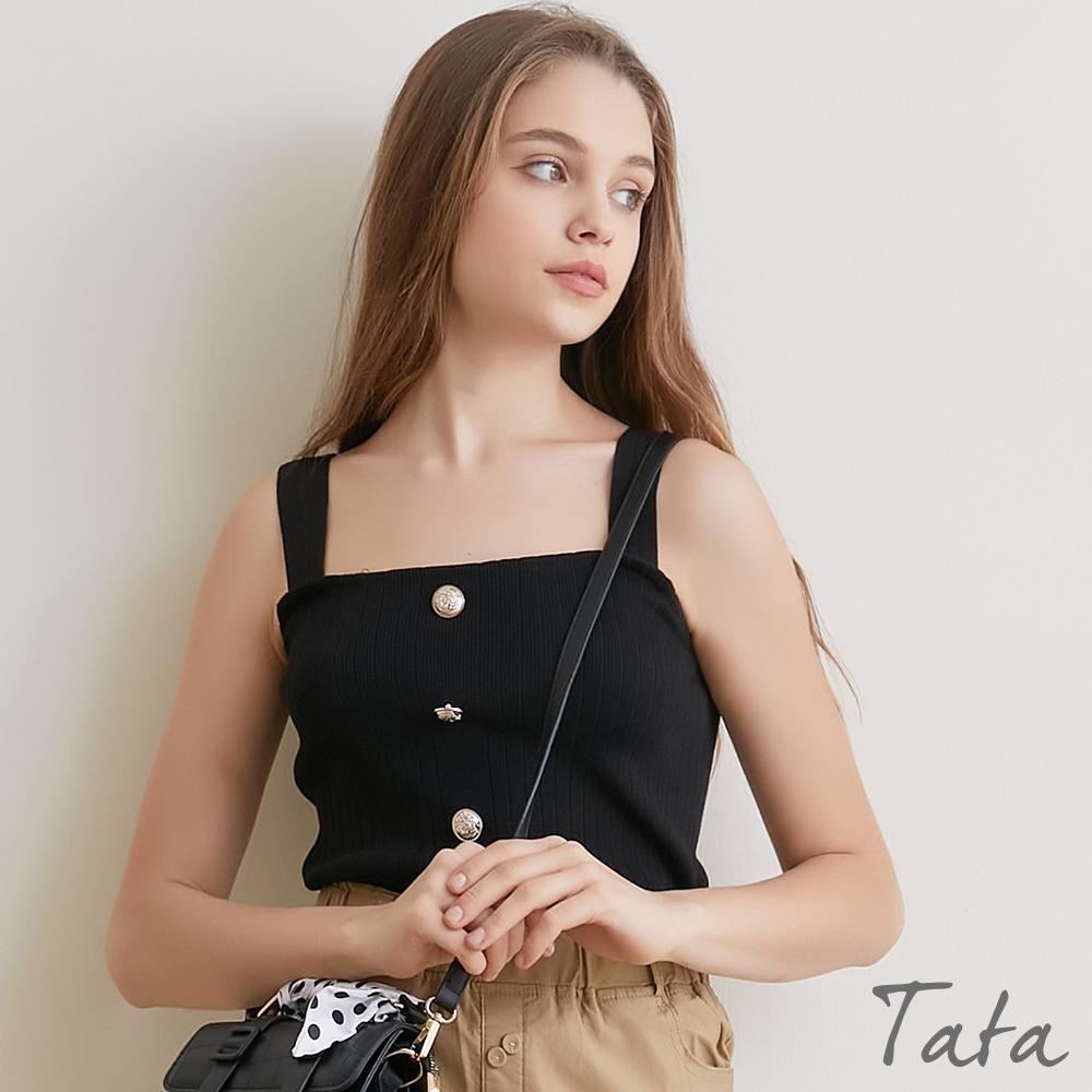 豎條紋裝飾釦短版針織背心 共二色 TATA-F product image 1