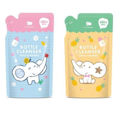 【les enphants 麗嬰房】 奶瓶蔬果酵素洗潔液-補充包680ML (無香/鳳梨香 任選)