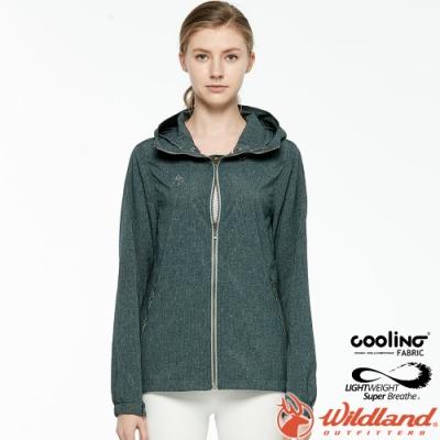 Wildland 荒野 0A81905-100松葉灰 女可溶紗環保外套 抗UV/遮陽外套/吸排透氣/連帽防曬/登山