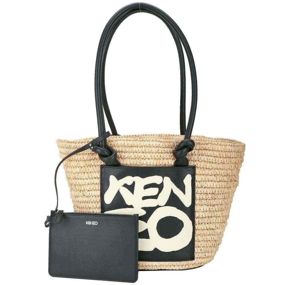 KENZO Kopakabana 字母皮標草編手提/側背包