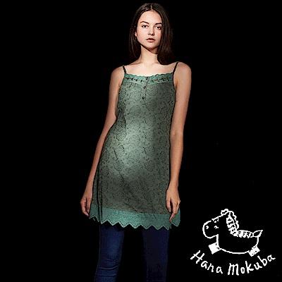 Hana 花木馬 氣質蕾絲雕花細肩帶背心造型洋裝(兩穿/兩色)-草木綠