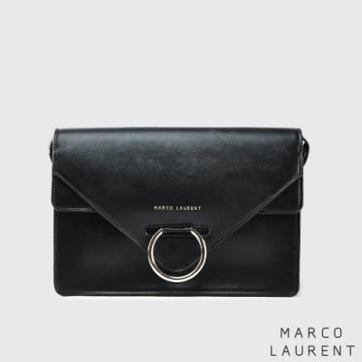 MARCO LAURENT Ring 環扣雙層肩背包 -黑色