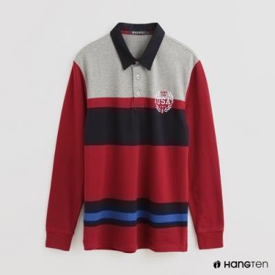 Hang Ten - 男裝 - 時尚撞色拼接色塊POLO衫 - 紅