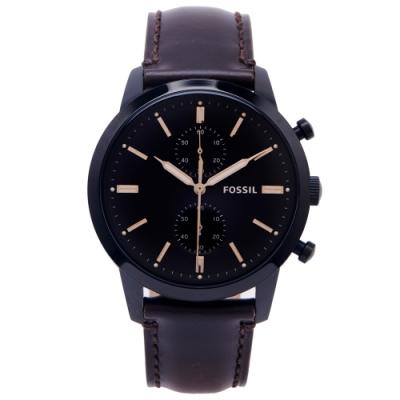 FOSSIL 霸氣圓弧鏡面雙眼計時皮革錶帶手錶(FS5437)-咖啡色面X咖啡色/44mm