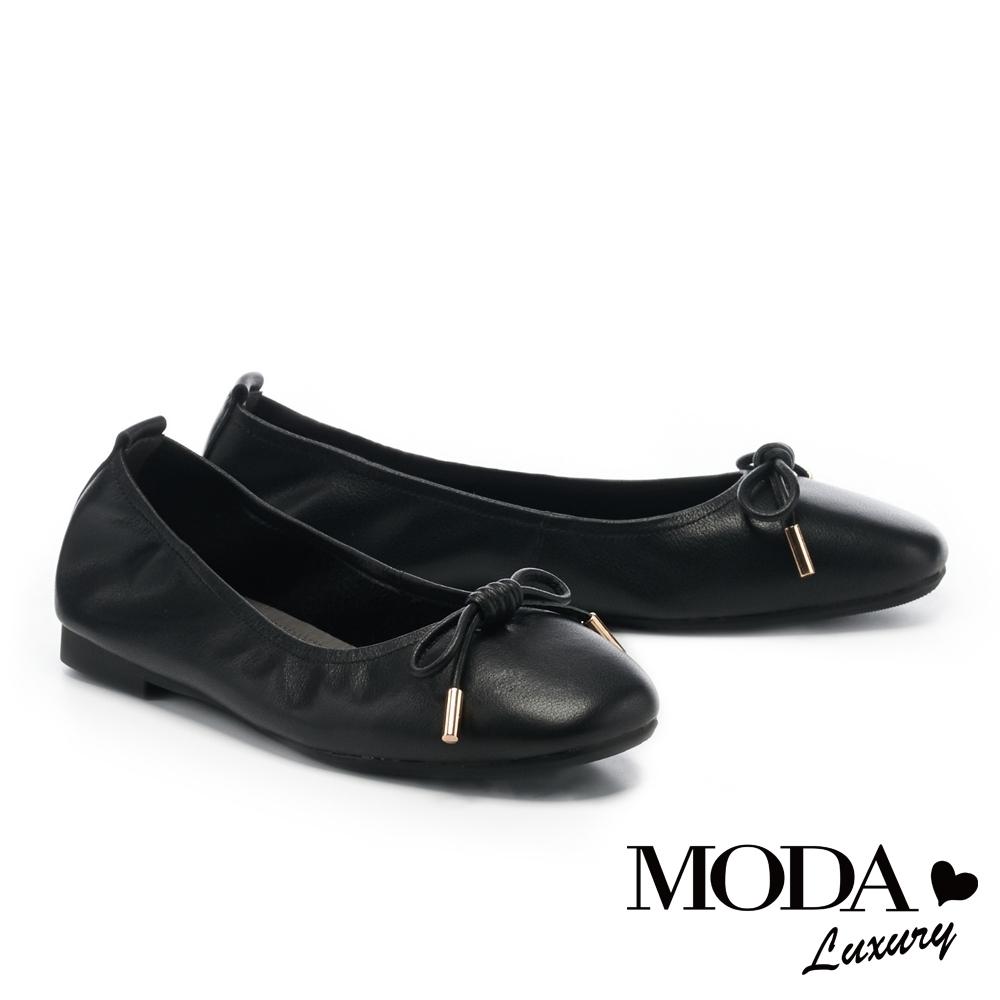 低跟鞋 MODA Luxury 日常純色蝴蝶結全真皮方頭娃娃低跟鞋-黑