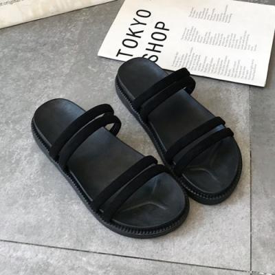 KEITH-WILL時尚鞋館 獨家款激亮線條休閒涼鞋 黑