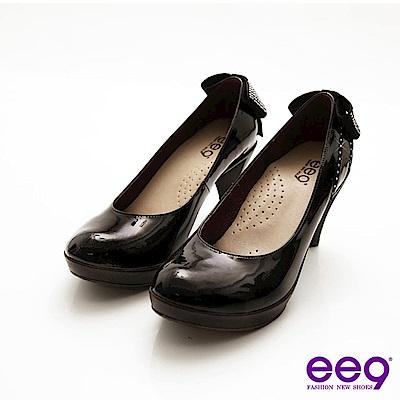 ee9 心滿益足~羊漆皮水鑽禮物蝴蝶結高跟鞋~優雅黑