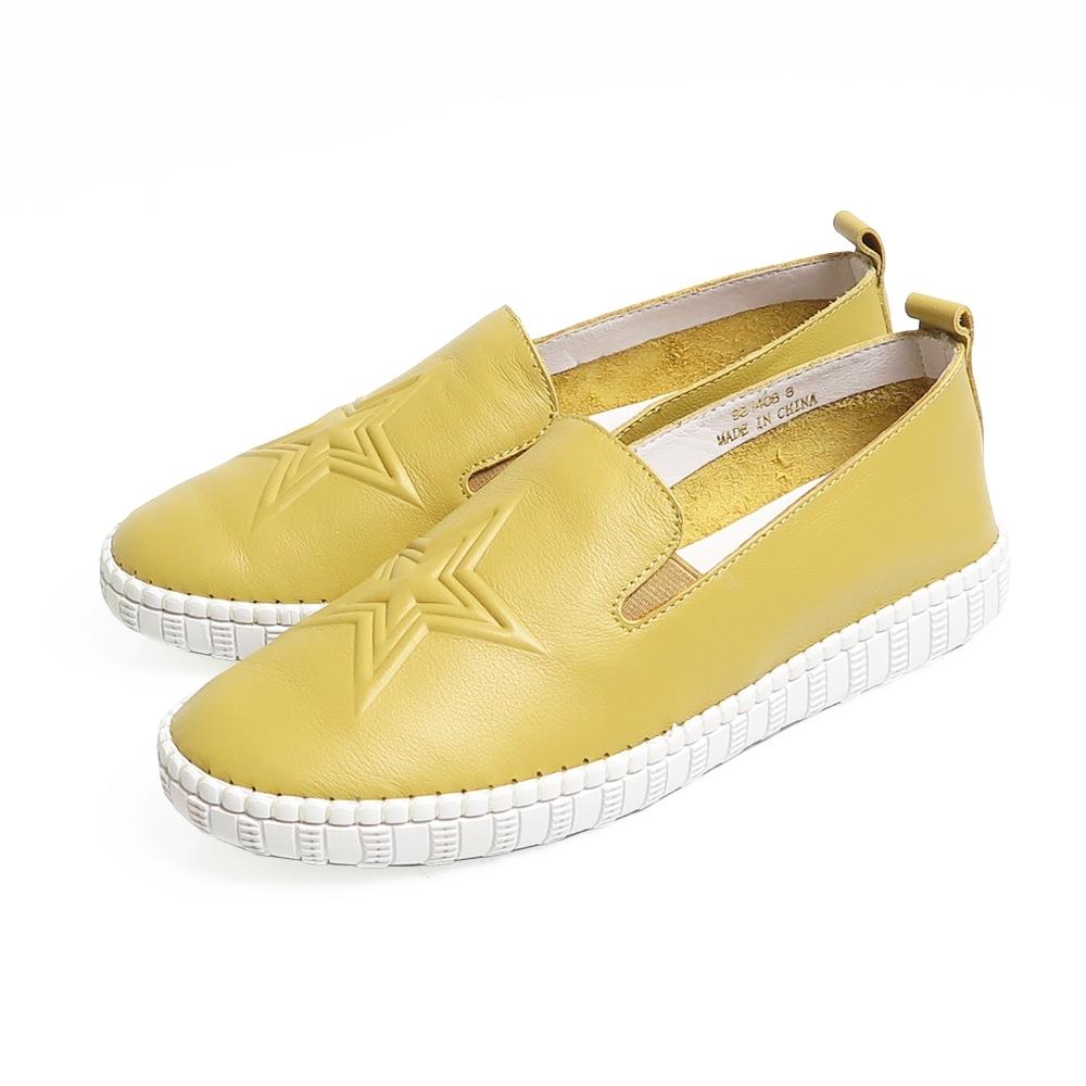 KOKKO牛皮雙層星星懶人休閒鞋乳酪黃
