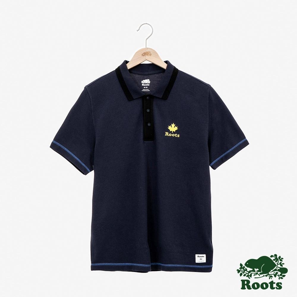 男裝Roots-楓葉刺繡短袖POLO衫-藍色