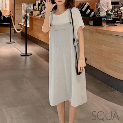 SQUA 寬鬆吊帶單色洋裝-二色-(L/XL)
