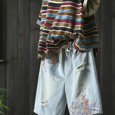 刺繡破洞純棉牛仔中褲寬松五分哈倫短褲-設計所在