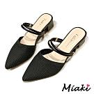 Miaki-高跟鞋小香2穿針織穆勒鞋-黑