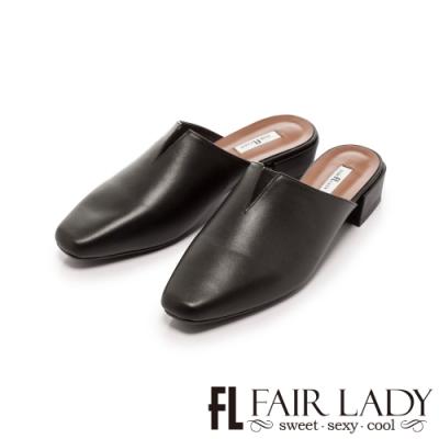 Fair Lady v口方頭樂福低跟穆勒鞋 黑