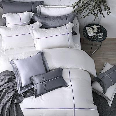 OLIVIA  Alma 白 特大雙人床包歐式枕套三件組 紫色繡線 天絲™萊賽爾