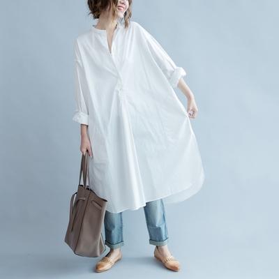 米蘭精品 連身裙長袖洋裝-兩邊開叉純棉長版女裙子73xz5