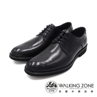 WALKING ZONE(男)車縫素面正裝皮鞋 男鞋-黑(另有棕)