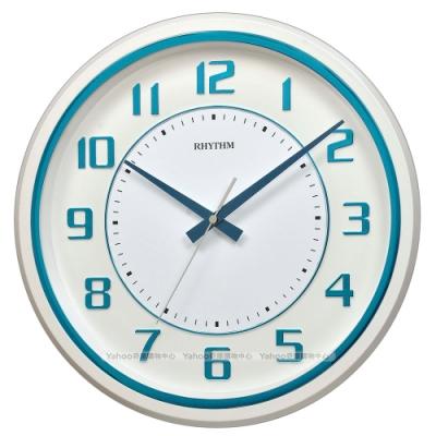 RHYTHM日本麗聲 現代設計粉彩立體數字超靜音掛鐘(碧海藍)/34cm