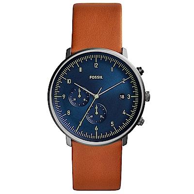 FOSSILChaseTimer紳士風尚真皮計時手錶(FS5486)-藍X咖啡/42mm