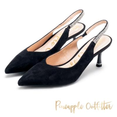 Pineapple Outfitter 淡雅法式 羊皮水鑽後繫帶尖頭高跟鞋-黑色