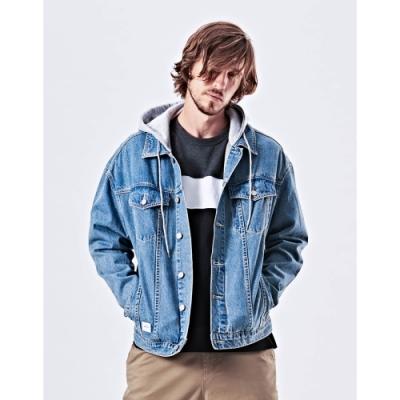 NAVY-可拆帽刷色外套(兩色)-男【UNA023】