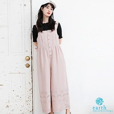 earth music 刺繡下擺設計排釦背心連身褲