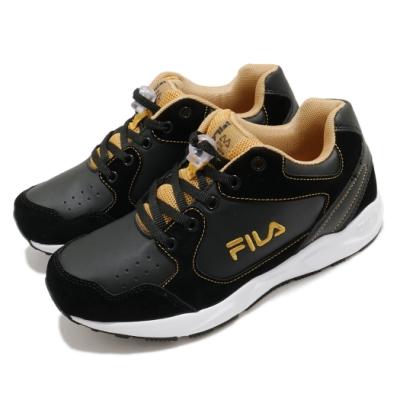 Fila 休閒鞋 J815U 運動 童鞋 基本款 舒適 避震 鞋扣設計 中童 黑 金 3J815U009