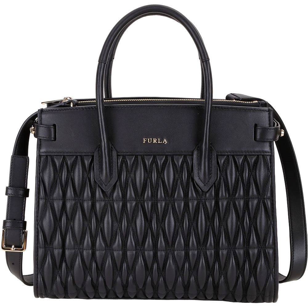 FURLA Pin Cometa 絎縫皮革雙層手提兩用包(黑色)