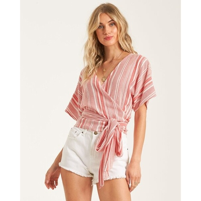 BILLABONG LOCAL SHORES 短袖綁帶罩衫 條紋紅-6518150RDD