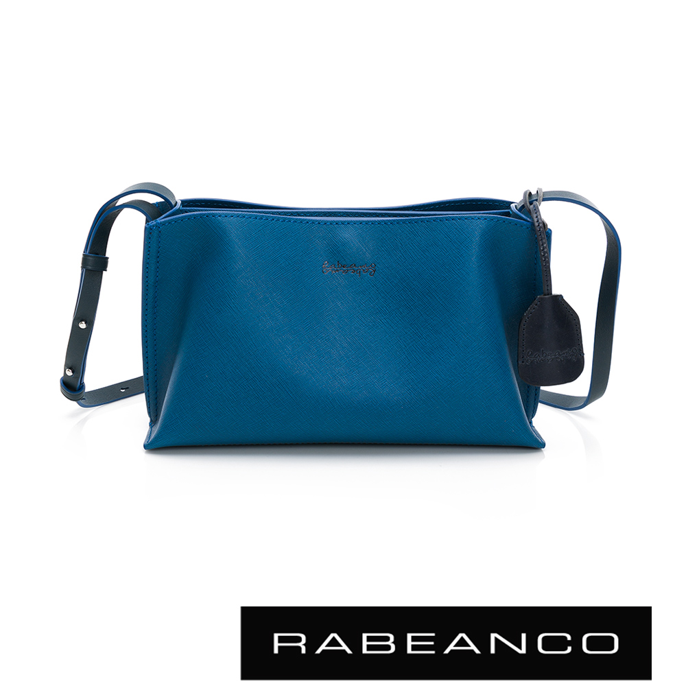 RABEANCO DAE真牛皮流線壓紋斜背小方包 丹寧藍