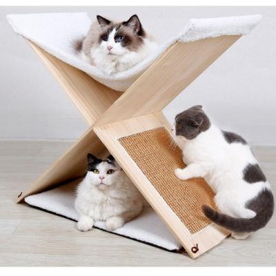 【寵愛有家】劍麻實木雙層貓抓貓爬架(寵物玩具)