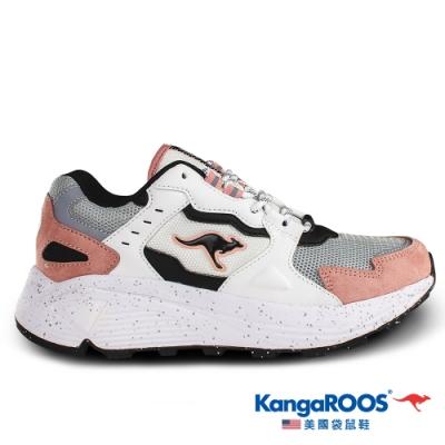 KangaROOS 美國袋鼠鞋 女 ESCAPE 潮流山系老爹鞋(白/粉-KW01203)