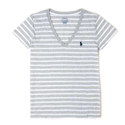 Polo Ralph Lauren 經典小馬V領條紋短袖T恤(女)-灰白條紋色