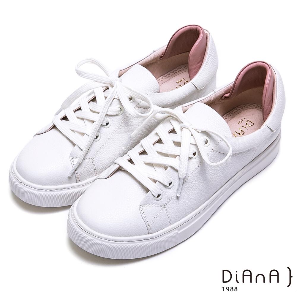 DIANA 真皮綁帶休閒鞋-漫步雲端焦糖美人-粉x白