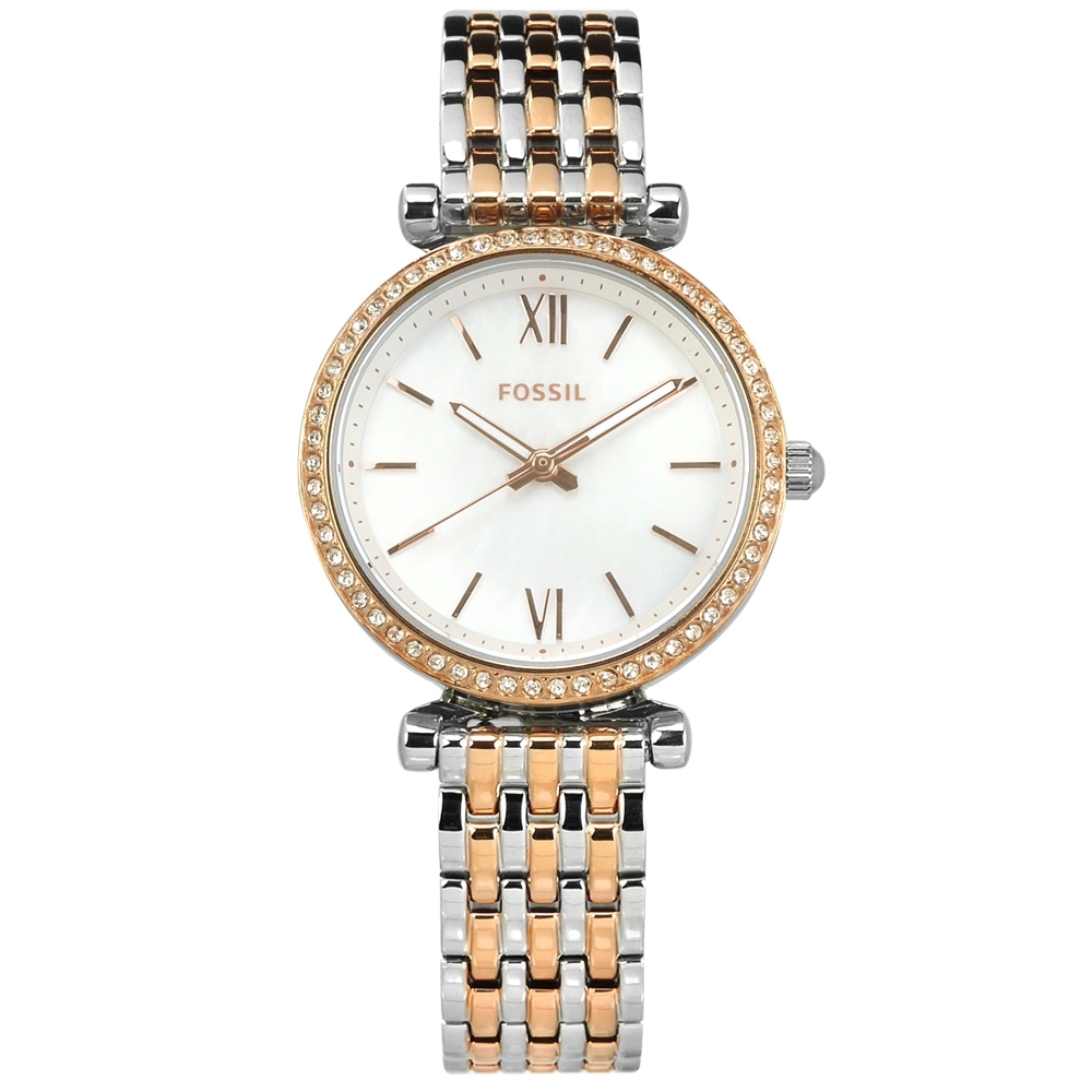 FOSSIL 珍珠母貝 晶鑽鑲圈 礦石強化玻璃 不鏽鋼手錶-銀x鍍玫瑰金/28mm