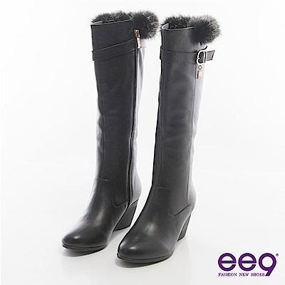 ee9心滿益足~百搭奢華經典扣環楔型長筒靴~黑色