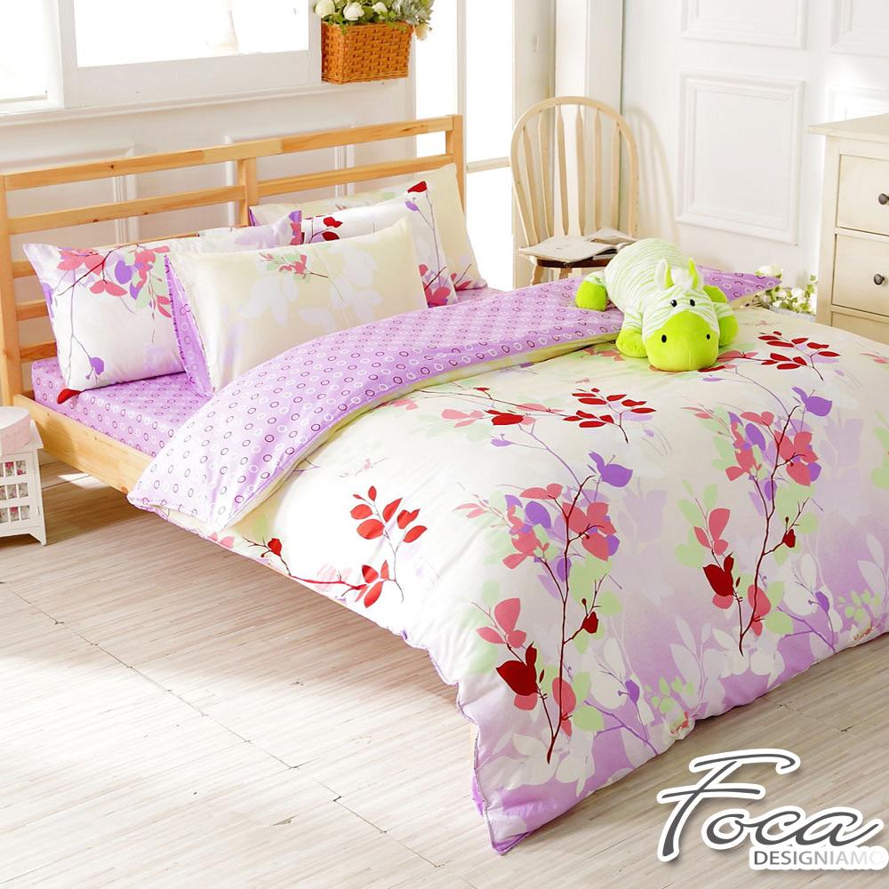 FOCA雨露花香-雙人-100%精梳純棉四件式兩用被床包組