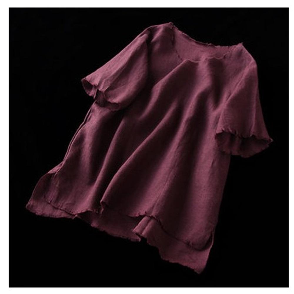 毛邊心機半袖亞麻T恤寬鬆棉麻上衣-設計所在