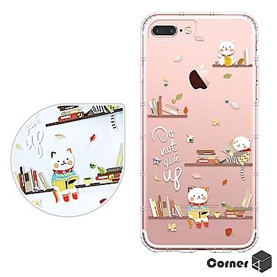 Corner4 iPhone8/7/6s Plus 5.5吋奧地利彩鑽防摔手機殼-貓咪書房