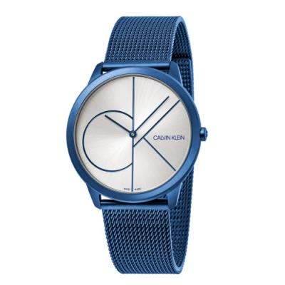 CALVIN KLEIN minimal 系列簡約腕錶-藍色銀面/40mm